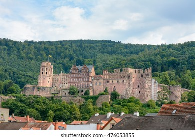 Heidelberg Castle (Heidelberger Schloss) made of Neckartaeler Sandstone on the hill over the old town of Heidelberg, Germany