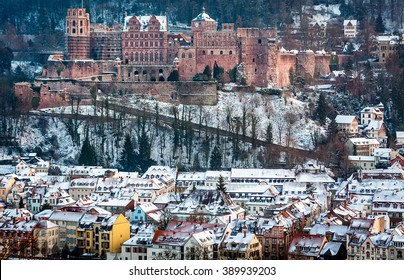 Heidelberg castle and old town covered in snow