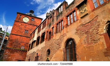 Heidelberg Castle, a ruin in Germany and landmark of Heidelberg, Germany