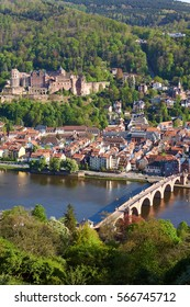 Heidelberg city with the famous old Bridge and castle/Heidelberg/Germany
