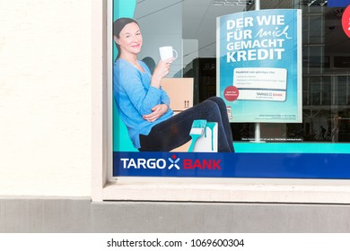 Heidelberg, Germany - April 10 2018: A Targo Bank outlet. It is a German retail bank headquartered in Dusseldorf and is part of the French Credit Mutuel Bank Group