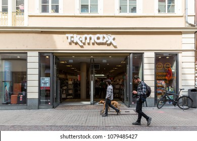 Heidelberg, Germany - April 10 2018: A TK MAXX fashion outlet. The chain sells brand names and designer products at discounted prices in the UK, Ireland, Germany, Poland, Austria and The Netherlands.