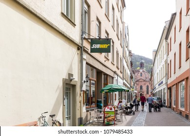 Heidelberg, Germany - April 10 2018: A Subway outlet. The first shop was opened in Bridgeport, Connecticut in 1965.Today, the brand has more than 44,000 locations around the world.