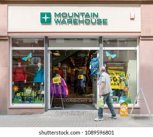 Heidelberg, Germany - April 10 2018: A Mountain Warehouse store. It offers outdoor clothing and equipment for hiking, camping, ski wear and running gear.