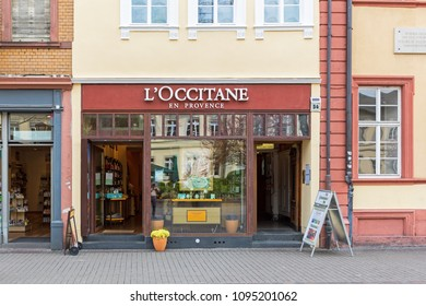 Heidelberg, Germany - April 10 2018: A l'Occitane en Province store. The L'Occitane Group comprises four natural beauty brands and a global network of  3,000 retail outlets in 90 countries