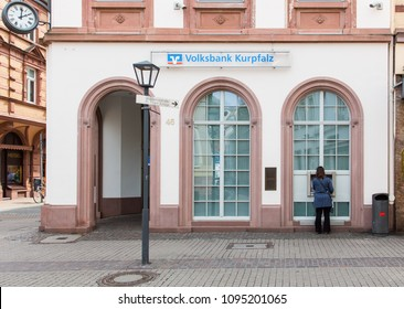 Heidelberg, Germany - April 10 2018: A branch of Volksbank Kurpfalz. It was founded in 1858 and is a private bank that provides various financial products and services.