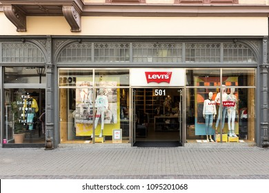 Heidelberg, Germany - April 10 2018: A Levis store. Levi Strauss & Co. is one of the world's largest jeans companies with 500 stores worldwide and products  available in  100 countries.