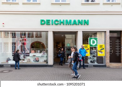 Heidelberg, Germany - April 10 2018: A Deichmann shoe store. Deichmann is active in 26 countries with 3,800 stores and employs around 38,252 people.