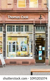 Heidelberg, Germany - April 10 2018: A Thomas Cook outlet. The Group is the oldest name in leisure travel and started in 1841.