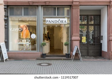 Heidelberg, Germany - April 10 2018: A Pandora store. It designs, manufactures and markets hand-finished and contemporary jewellery which is sold in more than 100 countries