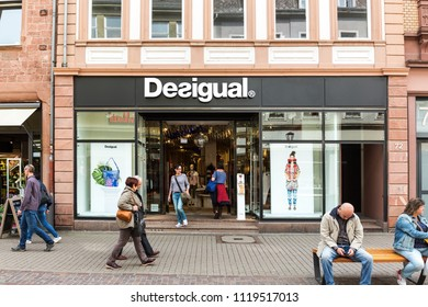 Heidelberg, Germany - April 10 2018: A Desigual fashion store. Its HQ is in Barcelona and it is present in more than 100 countries.