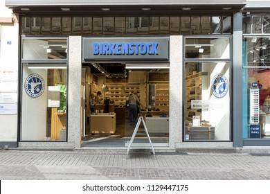 Heidelberg, Germany - April 10 2018: A Birkenstock store selling German manufactured sandals and shoes.