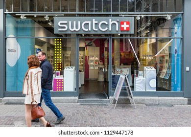 Heidelberg, Germany - April 10 2018:  A Swatch outlet. It is a Swiss watchmaker founded in 1983.
