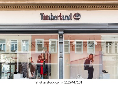 Heidelberg, Germany - April 10 2018: A Timberland store. It is owned by VF Corporation and is a global leader in branded lifestyle apparel, footwear and accessories.