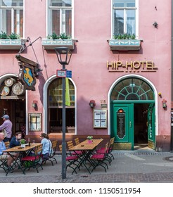 Heidelberg, Germany - April 10 2018: The  four star Hip Hotel. It is a historic 250-year-old building in the Old Town district of Heidelberg