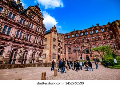 Heidelberg / Germany - April 14, 2019 : Beautiful landscape scene of Heidelberg City and The castle and Old Building architecture ancient, tourists sightseeing and travel to landmark view point