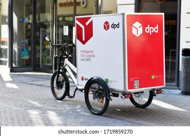 Heidelberg, Germany - April 2020: Cargo bike for parcel deliveries free from local emissions from DPD Germany international parcel delivery service