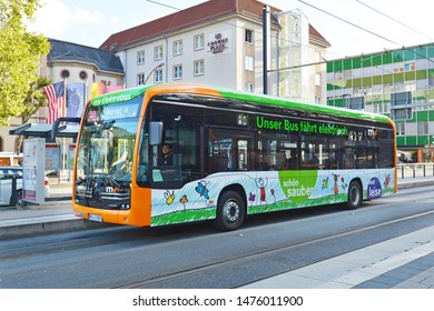 Heidelberg, Germany - August 2019: Modern zero-emission battery electric bus