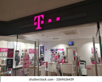 "Heidelberg, Germany - August 24, 2017: Deutsche Telekom store signage. There are around 750 so called ""T-Punkt"" shops which sell products and services of Deutsche Telekom"