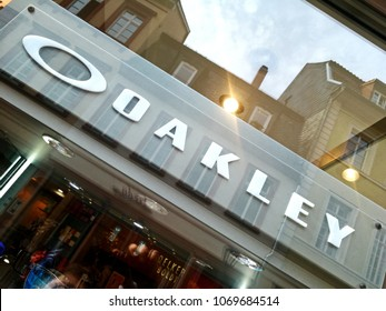 Heidelberg, Germany - August 24, 2017: Oakley eyeglasses store signage. subsidiary of Italian company Luxottica, the company provides sunglasses, sports visors, ski/snowboard goggles, watches, apparel