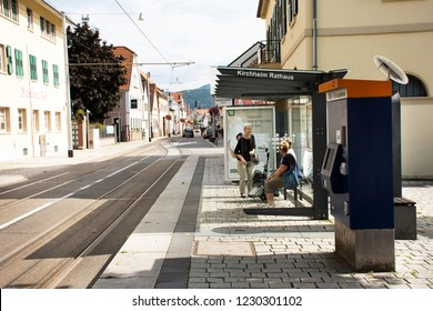 HEIDELBERG, GERMANY - AUGUST 25 : German and foreigner travelers people wait tramway go to Heidelberg altstadt or old town at Sandhausen district station on August 25, 2017 in Heidelberg, Germany