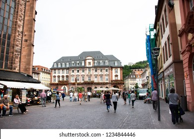 HEIDELBERG, GERMANY - AUGUST 25 : German and foreigner travelers people walking and visit heidelberger market square or marktplatz and go to Heidelberg Castle on August 25, 2017 in Heidelberg, Germany