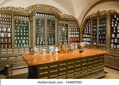 HEIDELBERG/ GERMANY - DECEMBER 18, 2008: View on interior of old apothecary in Pharmacy Museum on December 18, 2008 in Heidelberg.