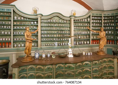 HEIDELBERG/ GERMANY - DECEMBER 18, 2008: View on interior of old apothecary in Pharmacy Museum on December 18, 2008 in Heidelberg.