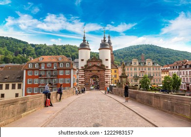 HEIDELBERG, GERMANY - JUNE 23, 2016: Old bridge in Heidelberg in a beautiful summer day, Germany on June 23, 2016