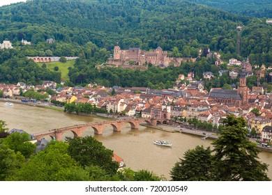 HEIDELBERG, GERMANY - JUNE 23, 2016: Panoramic aerial view of Heidelberg in a beautiful summer day, Germany on June 23, 2016