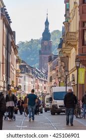 HEIDELBERG, GERMANY - MAY 2, 2016: local people shopping in downtown of Heidelberg.