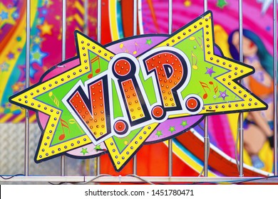 Heidelberg, Germany - May 2019: Colorful retro comic style sign saying 'V.I.P.' on funfair attraction