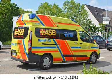 Heidelberg, Germany - May 2019: Yellow emergency car of ASB - the Workers' Samaritan Federation, a German aid and welfare organisation for civil protection, rescue and and social welfare services
