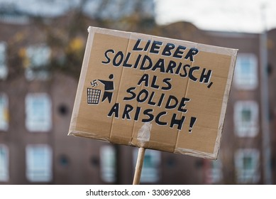 Heidelberg, Germany - October 24, 2015 - Counterdemonstration against radicals of the right wing