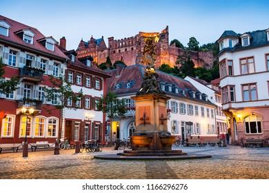 Heidelberg night view , Long exposure of historical city Heidelberg,Germany.