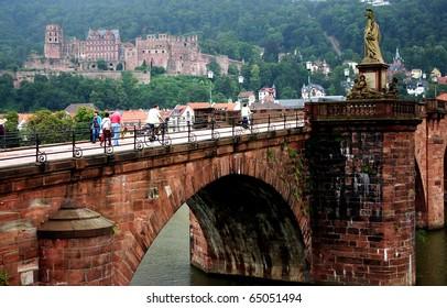 Heidelberg. The old bridge on the river Neckar. Germany.