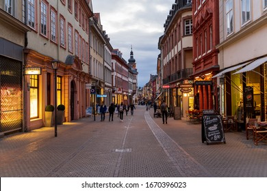 Heidelberg Old Town and pedestrian zone shortly before sunset on 11.03.2020