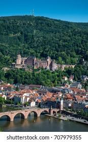 Heidelberg and ruins of Heidelberg Castle (Heidelberger Schloss) in a beautiful summer day, Germany
