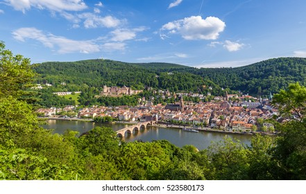 Heidelberg in Summer with a view on the castle, the Church of the Holy Spirit (Heiliggeistkirche) and the old bridge, shot from Philosophenweg.