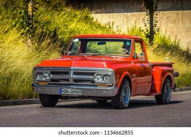 Heidenheim, Germany - July 8, 2018: GMC pick-up truck at the 2. Oldtimer day in Heidenheim an der Brenz, Germany.