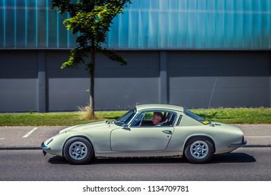 Heidenheim, Germany - July 8, 2018: Lotus Elan +2 at the 2. Oldtimer day in Heidenheim an der Brenz, Germany.