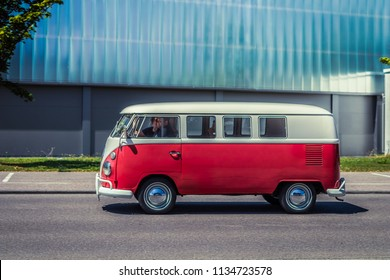 Heidenheim, Germany - July 8, 2018: Volkswagen Typ 2 T1 bus at the 2. Oldtimer day in Heidenheim an der Brenz, Germany.