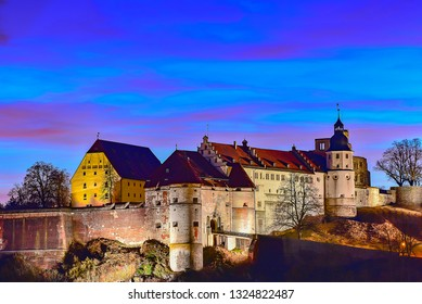 Heidenheim,Germany-February 27,2019:evening scenery with Hellenstein  castle.