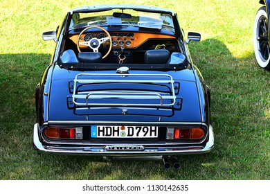 HEIDENHEIM,GERMANY-July 08,2018: black TRIUMPH in Oldtimer Show.The Triumph Motor Company was a British car and motor manufacturing company.