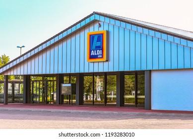 HEIDENHEIM,GERMANY-JULY 08,2018:view on the ALDI supermarket.