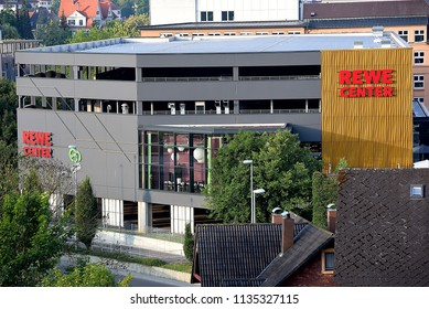 HEIDENHEIM,GERMANY-JUNE 24,2018: REWE supermarket.