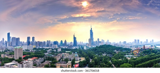 From a height overlooking the panoramic city of Nanjing