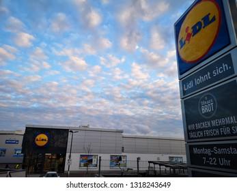Heilbronn, Germany - February 19, 2019 : A Lidl Store in Heilbronn, Lidl is a German global discount supermarket chain, headquarter based in Neckarsulm, Germany.