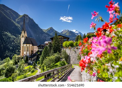 Heiligenblut with St Vincent Church in the background the beautiful Grossglockner
