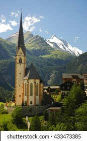 Heiligenblut with St Vincent Church in Carynthia and Grossglockner